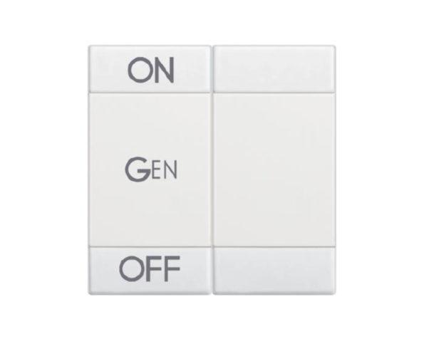Copritasto Livinglight a 2 funzioni con serigrafia ON OFF GEN – 2 moduli – bianco