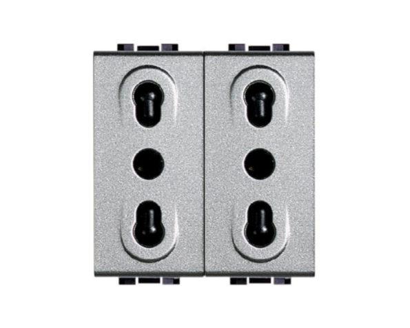Presa duplex 2P+T 10/16A 250 Vac – bipasso interasse 19mm e 26mm – alveoli schermati – Tech