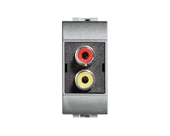 Doppio connettore tipo RCA – con collari colore rosso e giallo – terminazione a saldare – Tech
