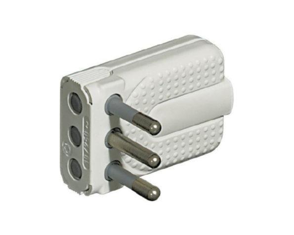 Spina Corner 2P+T 10A salvaspazio – spinotti orientabili – colore Bianco – BTicino
