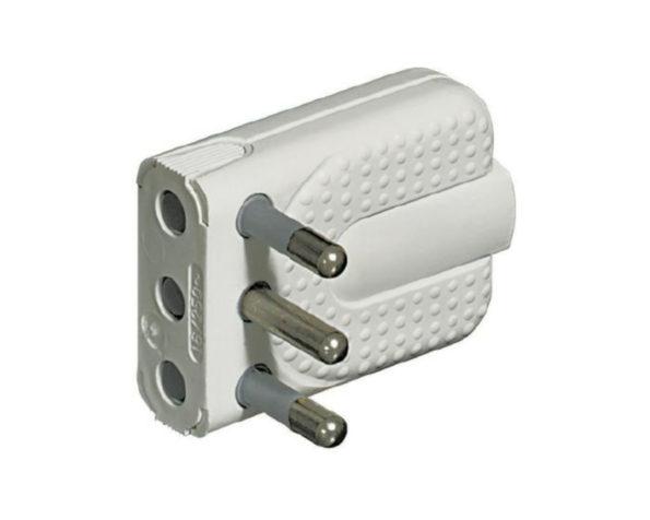 Spina Corner 2P+T 16A salvaspazio – spinotti orientabili – colore Bianco – BTicino