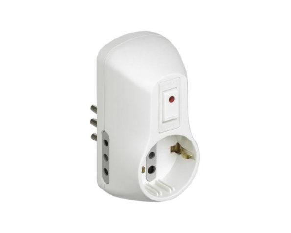 Kit – adattatore Safe 1 presa standard tedesca e 2 prese 10A interruttore luminoso bianco