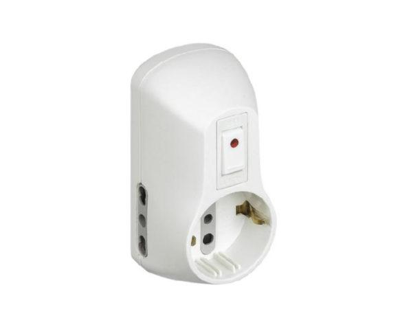Kit – adattatore Safe 1 presa standard tedesca e 2 bipasso (10/16 A) interruttore luminoso bianco