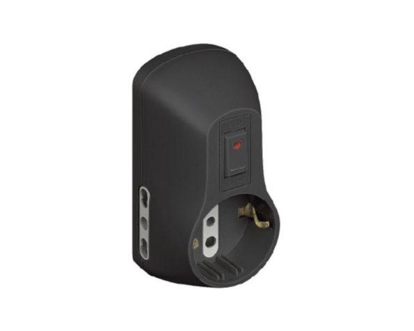 Kit – adattatore Safe 1 presa standard tedesca e 2 bipasso (10/16 A) interruttore luminoso grigio